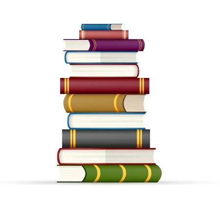 Stapel Des Buches. Hoch Gestapelt Bücher, Isoliert Auf Weißem ...