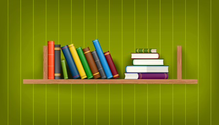 Row and stack of colorful books on shelf illustration background Vector