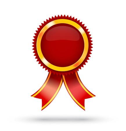 primer lugar: Primer Lugar Red Label Ribbon Award en blanco aislado con espacio de copia