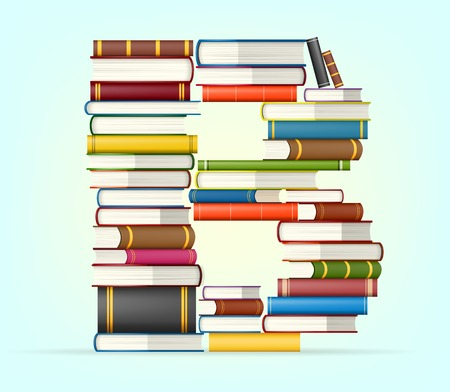 bible study: Letter B in Stack of multicolored books illustration