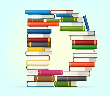 stacked books: Letter D in Stack of multicolored books illustration