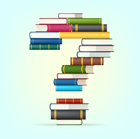 intrigue: Question mark in Stacks of multicolored books  illustration