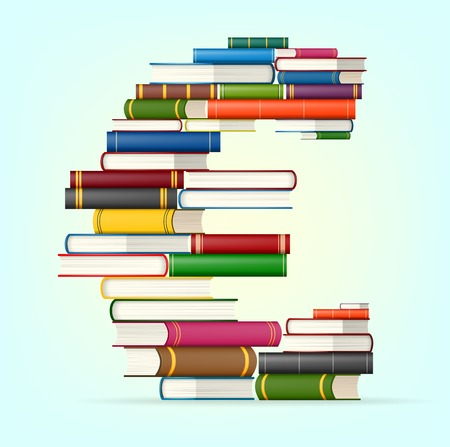 bestseller: Euro sign in Stacks of multicolored books illustration Illustration