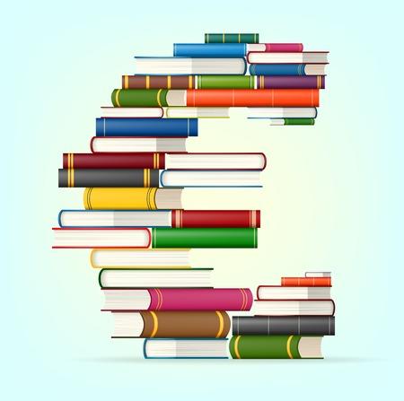 honorarium: Euro sign in Stacks of multicolored books illustration Illustration