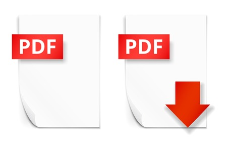 pdf: PDF icons of empty paper sheet and download button
