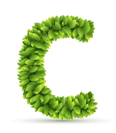 c design: Letter C alphabet of green leaves on white background Illustration