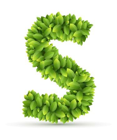 s alphabet: Letter S alphabet of green leaves on white background Illustration