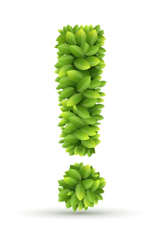 tip of the leaf: Exclamation mark of green leaves on white background