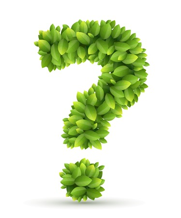 Question mark of green leaves on white background Vector