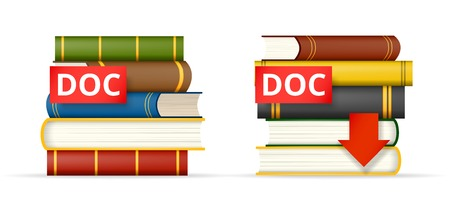 docs: DOC format icons, stack of books and download button Illustration