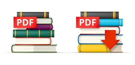 pdf: PDF icons, stack of books and download button