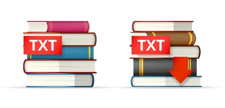 txt: TXT book format icons, stack of books and download button Illustration