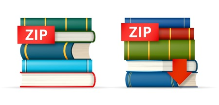 ZIP paked books icons, stack of books and download button, vector illustration Vector