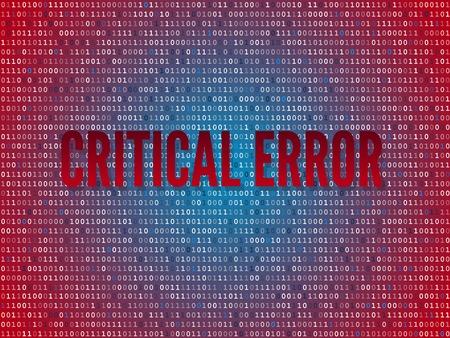 Critical error computer binary code screen Vector