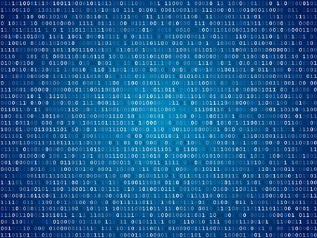 Ordinateur écran bleu code binaire table de fond annonce Banque d'images - 26576812