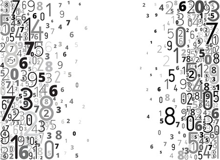Black numbers vector background with copy space
