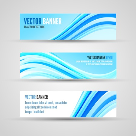 ocean background: Banner template of blue clean ocean background with abstract waves Illustration