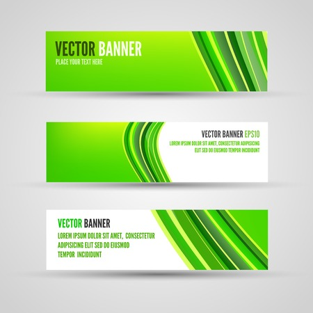 elegantly: Banner template of green background with abstract waves