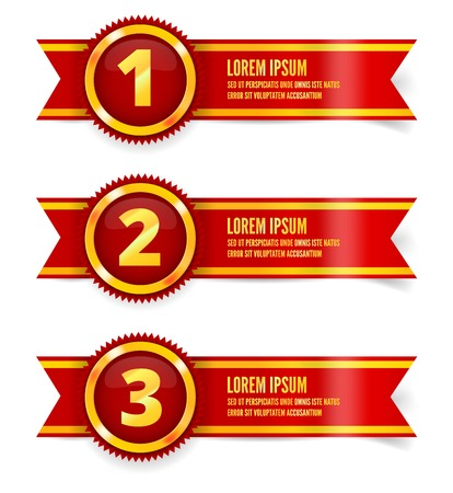Red and gold the winner ribbon awards on background Vector