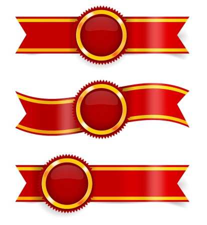 Set of red award ribbons and golden-red medals. Imagens - 26752392