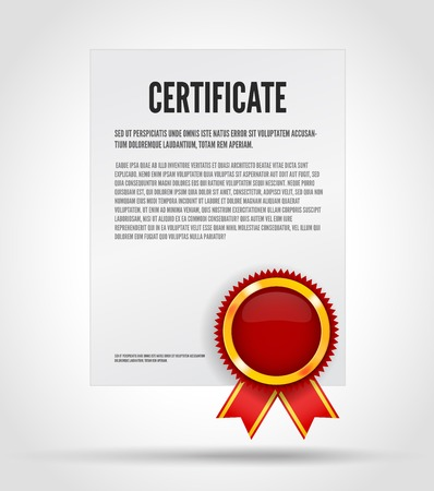 best price: Certificate with red award label with ribbon. White paper sheet Illustration