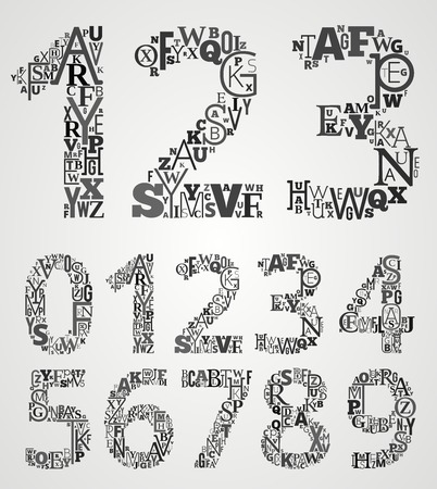 Lettering Alphabet  Set. Numbers from different fonts Letters. Illustration
