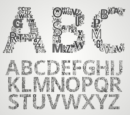 Lettering Alphabet Set. Letters makes from different fonts Letters. Illustration