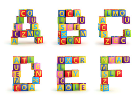 abc blocks: Alphabet on a baby cubes, letters A-F, abc blocks isolated on white background