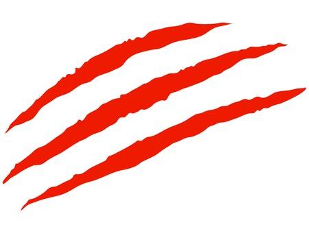 赤い血の爪の傷  イラスト・ベクター素材