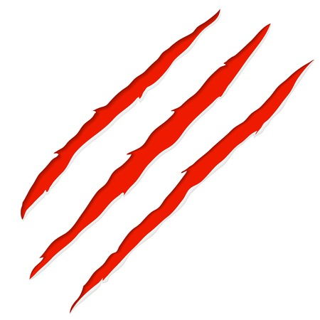 slash: Red bloody claw deep scratches