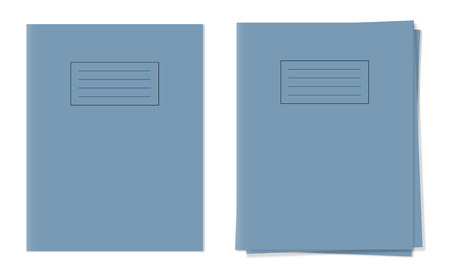schoolwork: exercise books ,single and free in stack blue cover