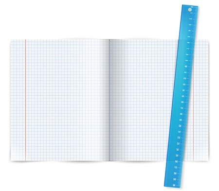 Blank exercise math book with blue ruler.