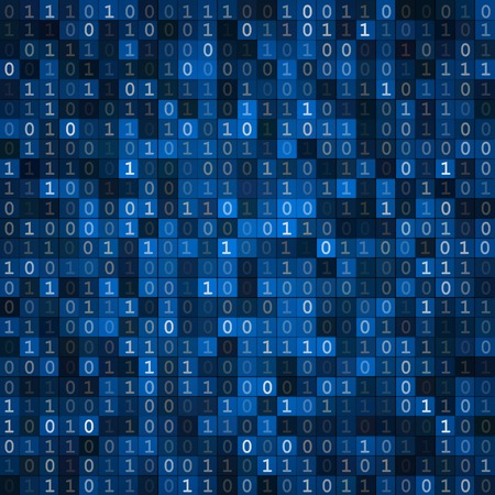 Blue cryptography encoding screen computer binary code pixels  background Illustration