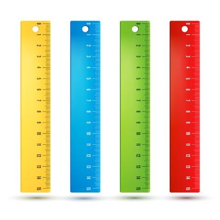 Colored rainbow plastic rulers. Imagens - 27158855