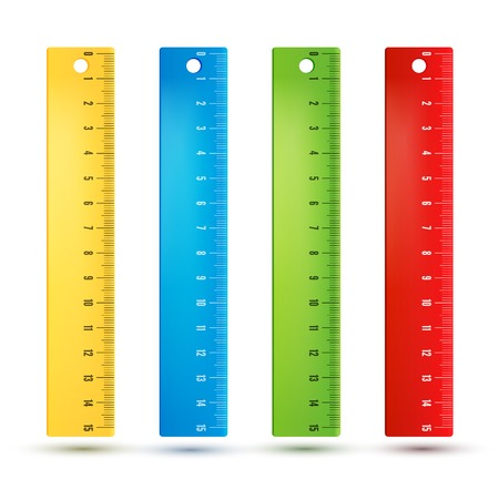 Colored rainbow plastic rulers. Illustration