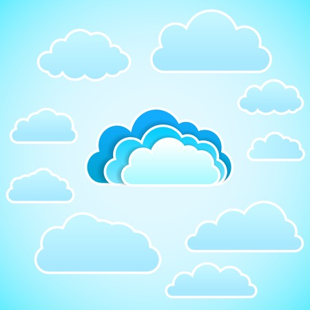 wheather forecast: Blue cloud computing  with connections to secondary clouds. Vector background