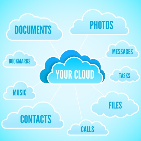 Cloud computing concept vector illustration with text