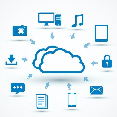icono computadora: La computación en nube concepto de ilustración vectorial con iconos
