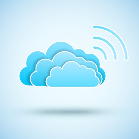 wifi sign: Cloud with  Wifi symbol. Wireless Network icon.  Illustration