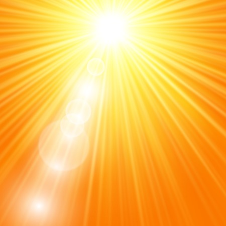 Sun burst with flare, vector summer yellow background Vector
