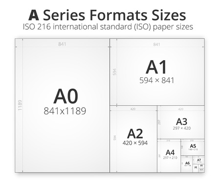 Illustration with comparison paper size of format series A, from A0 to A10 format and sizes