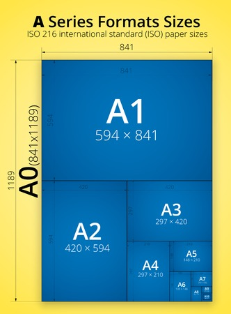 a1: Poster infographic, size of blueprint style series A paper sheets. Vector illustration