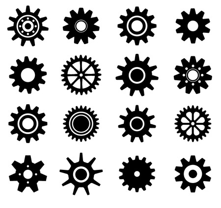 toothed: Gear cogs wheels shapes vector icons set
