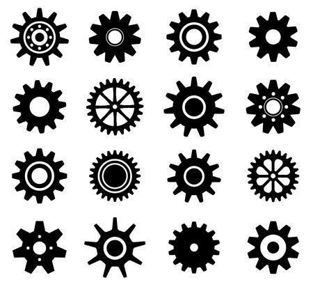 Gear tanden wielen vormen vector pictogrammen instellen Stockfoto - 27353731