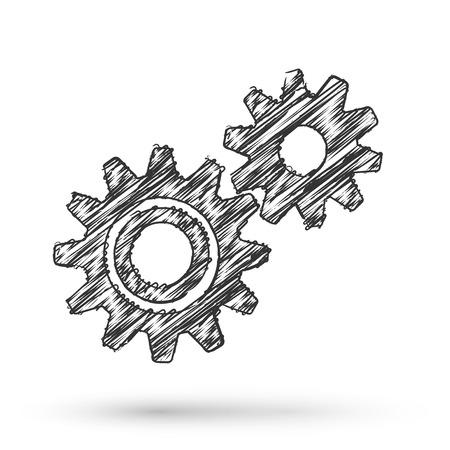 Vector versnellingen werken business concept doodle stijl Stock Illustratie