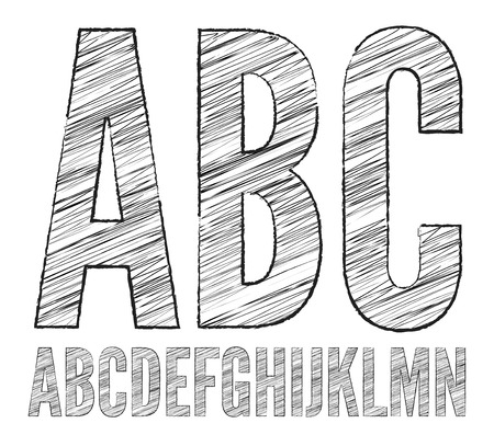 learn english: Letters A- N, Pencil  sketched characters on a white vector alphabet