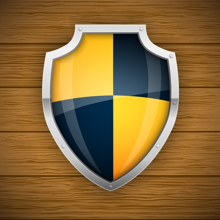 virus protection: Glossy Knight Style Vector Shield, protection concept