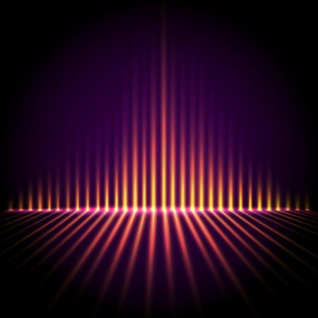sound waves: Techno perspective equalizer, abstract technology vector background Illustration