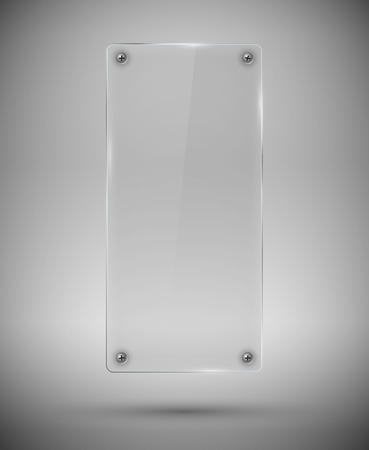 nameplate: Glass tall framework with screw on  gray background.