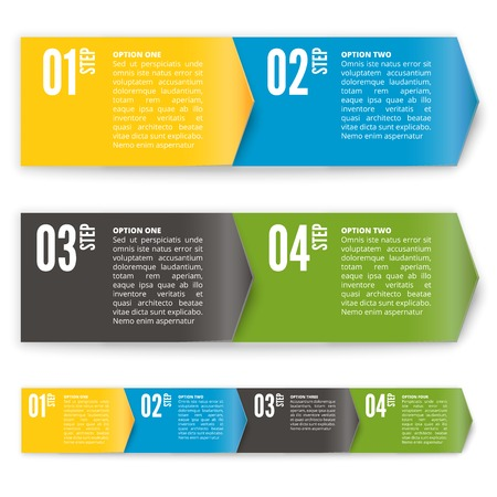 Process chart or direction arrow banner module.  Vector